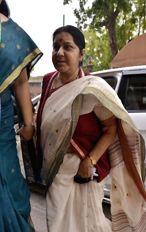 Union Minister Sushma Swaraj arrives at the Parliament to cast her vote in presidential polls on July 17, 2017. - Sushma Swaraj