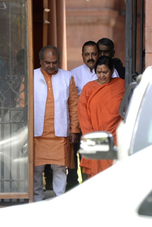 Union Minister Uma Bharti comes out after a cabinet meeting at South Block in New Delhi on June 1, 2016. - Uma Bharti