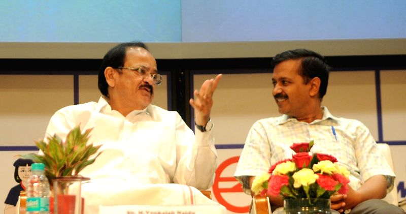 "Union Minister Venkaiah Naidu with Delhi Chief Minister Arvind Kejriwal during a programme organised to inaugurate Delhi Metro's ""Heritage Line"" in New Delhi, on May 28, 2017. - Venkaiah Naidu and Arvind Kejriwal"