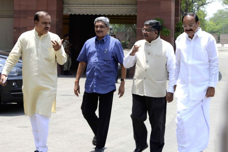 Union ministers Ananth Kumar, Ravi Shankar Prasad, Manohar Parrikar and M Venkaiah Naidu after the Cabinet meeting at the Parliament in New Delhi on May 11, 2016. - M Venkaiah Naidu and Ananth Kumar
