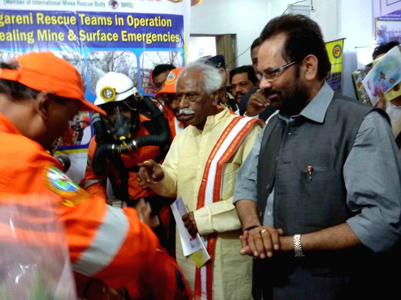 Union Ministers Mukhtar Abbas Naqvi and Bandaru Dattatreya visit a Mine Rescue Services exhibition organised on completion of three years of Modi government  in Hyderabad, on June 1, 2017. - Mukhtar Abbas Naqvi and Bandaru Dattatreya