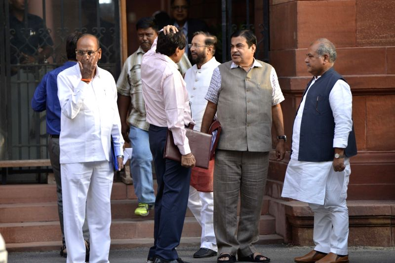 Union Ministers Nitin Gadkari, Prakash Javadekar, Narendra Singh Tomar and Thawar Chand Gehlot come out after a Cabinet Meeting at South Block in New Delhi on May 24, 2017. - Nitin Gadkari, Prakash Javadekar, Narendra Singh Tomar and Thawar Chand Gehlot