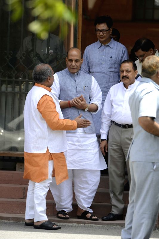Union Ministers Rajnath Singh, Kiren Rijiju and Jitendra Singh come out after a cabinet meeting at South Block in New Delhi on June 1, 2016. - Ministers Rajnath Singh, Kiren Rijiju and Jitendra Singh