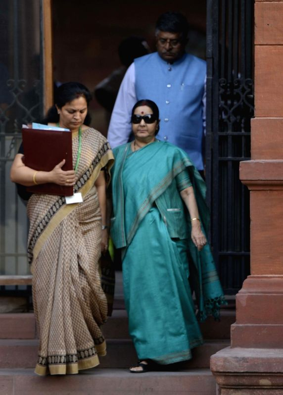 Union Ministers Sushma Swaraj and Ravi Shankar Prasad come out after a Cabinet Meeting at South Block in New Delhi on May 24, 2017. - Sushma Swaraj and Ravi Shankar Prasad