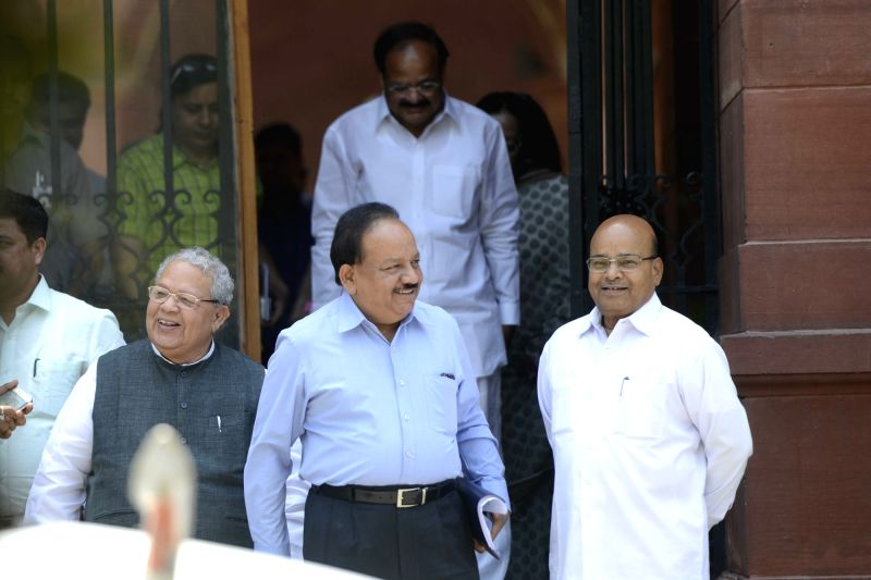 Union Ministers Venkaiah Naidu, Harsh Vardhan, Thawar Chand Gehlot and Kalraj Mishra come out after a cabinet meeting at South Block in New Delhi, on May 18, 2016. - Ministers Venkaiah Naidu, Harsh Vardhan, Thawar Chand Gehlot and Kalraj Mishra