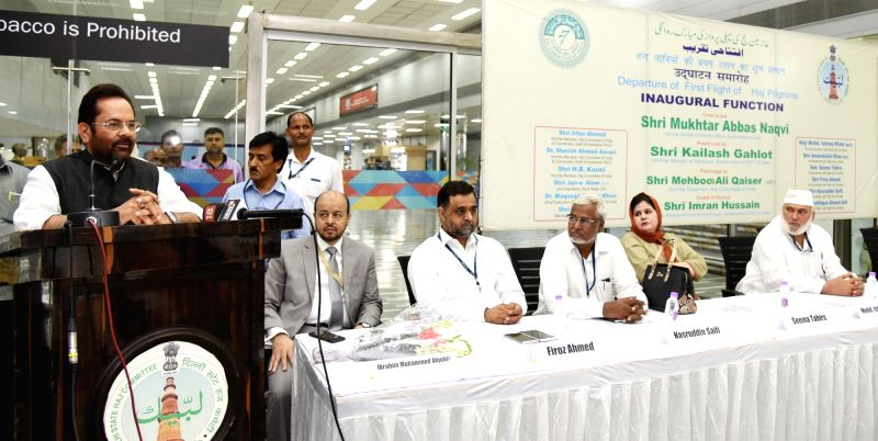 Union Minority Affairs Minister Mukhtar Abbas Naqvi addresses at the flagging off ceremony of the first flight of Haj Pilgrims from Haj Terminal, in New Delhi on July 14, 2018. - Mukhtar Abbas Naqvi