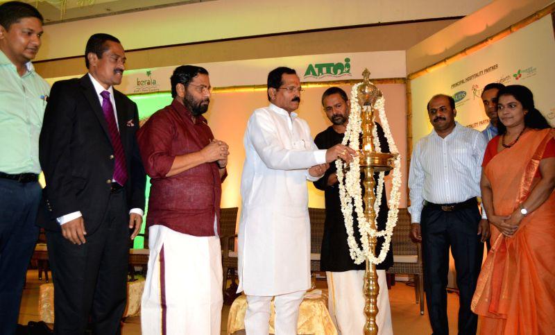 Union MoS AYUSH Shripad Yesso Naik addresses after inaugurating 'Yoga Ambassadors Tour', in Thiruvananthapuram on June 14, 2018. Also seen Kerala Tourism Minister Kadakampally ... - Kadakampally Surendran