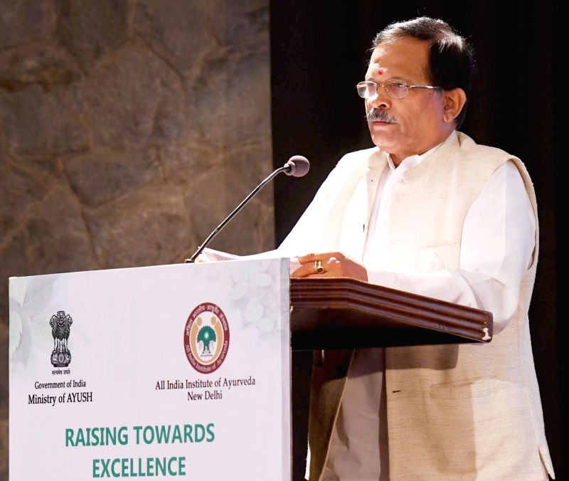 Union MoS AYUSH Shripad Yesso Naik addresses at the Conference of Heads of National AYUSH Institutes, in New Delhi on July 17, 2018.