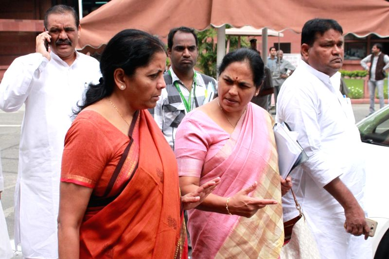 Union MoS Commerce and Industry Nirmala Sitharaman  after BJP parliamentary party meeting in New Delhi, on Aug 9, 2016.