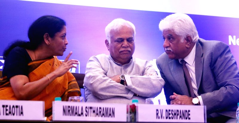 Union MoS Commerce and Industry Nirmala Sitharaman and Karnataka Minister R.V. Deshpande at the 4th National Standard Conclave, in New Delhi on May 5, 2017. - R.