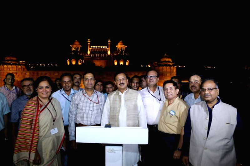 Union MoS Culture and Environment, Forest and Climate Change Mahesh Sharma unveils a special facade lighting at the Red Fort in New Delhi on Aug 10, 2018. - Change Mahesh Sharma