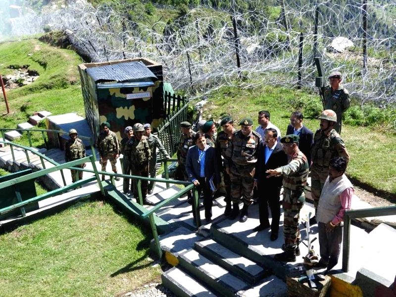 Union MoS Defence Dr. Subhash Bhamre during his visit to forward areas along the Line of Control in Jammu and Kashmir on June 9, 2017.