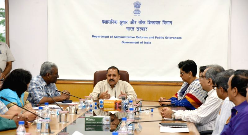 Union MoS Development of North Eastern Region Jitendra Singh addresses at the presentation of certificates for meritorious performance in handling public grievances on PG portal, in New ...