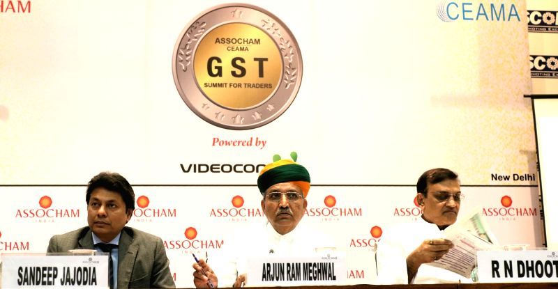 "Union MoS Finance Arjun Ram Meghwal during ""ASSOCHAM-CEAMA GST Summit for traders"" in New Delhi, on June 1, 2017."