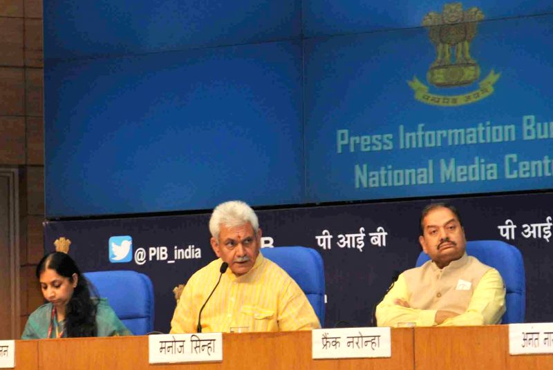Union MoS for Communications and  Railways Manoj Sinha addresses a press conference on achievements of Ministry of Communications during 3 years of NDA Government in New Delhi on May 25, ... - Manoj Sinha