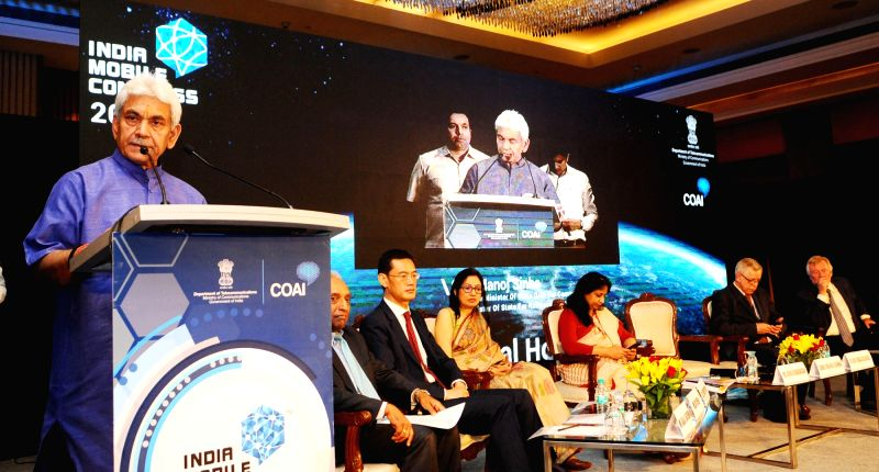 Union MoS for Communications (I/C) and Railways Manoj Sinha addresses at the launch of the India Mobile Congress-2018, in New Delhi on April 13, 2018. Also seen Telecom Secretary Aruna ... - Manoj Sinha