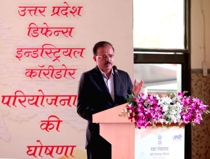 Union MoS for Defence, Dr. Subhash Ramrao Bhamre addresses at the launch of projects for Defence Industrial Corridor in Aligarh, Uttar Pradesh on Aug 11, 2018.