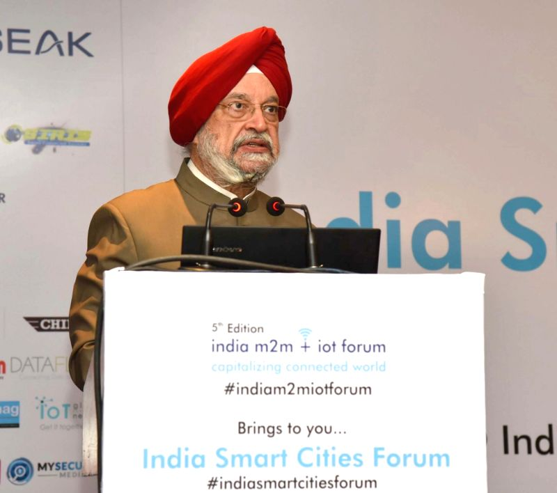 """Union MoS for Housing and Urban Affairs (I/C) Hardeep Singh Puri addresses at the """"4th India Smart Cities Forum-2018"""" in New Delhi on Jan 30, 2018. - Hardeep Singh Puri"""