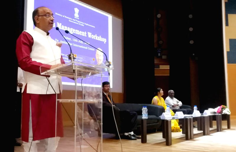 Union MoS for Parliamentary Affairs and Statistics and Programme Implementation Vijay Goel addresses at the Stress Management Workshop in New Delhi on July 13, 2018.