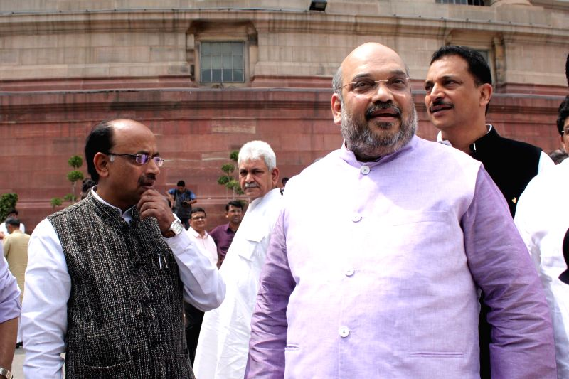 Union MoS for Skill Development and Entrepreneurship (Independent Charge) and Parliamentary Affairs Rajiv Pratap Rudy, BJP leader Vijay Goel and others with BJP chief Amit Shah at the ...