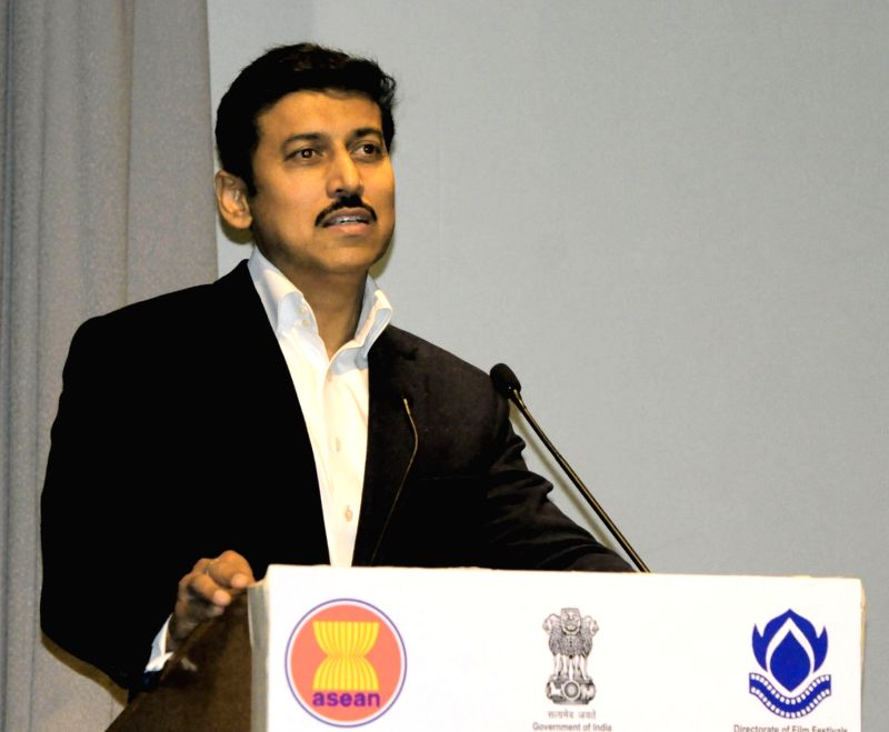 Union MoS for Youth Affairs and Sports and Information and Broadcasting (I/C), Col. Rajyavardhan Singh Rathore addresses at the opening ceremony of ASEAN India Film Festival 2018, in New ... - Rajyavardhan Singh Rathore