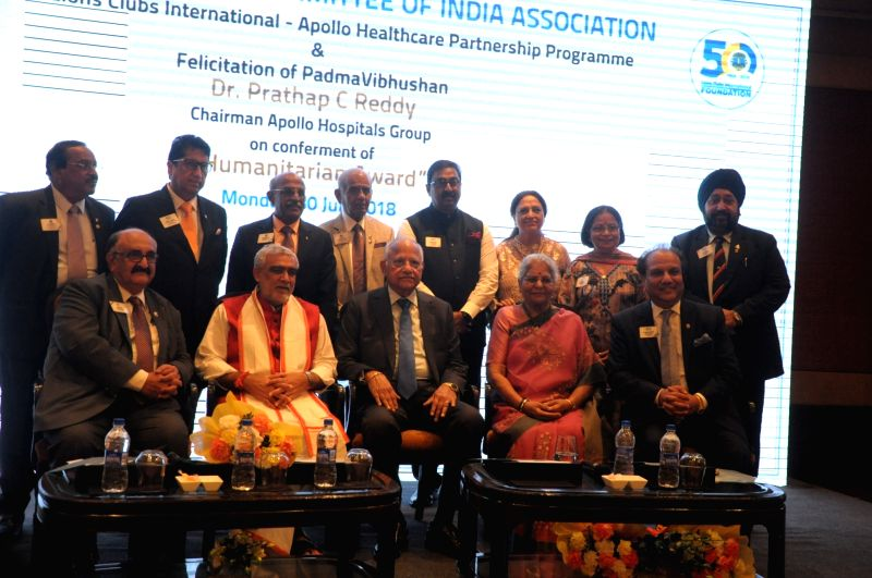 Union MoS Health and Family Welfare Ashwani Choubey, Apollo Hospitals Executive Chairman Prathap C. Reddy with other dignitaries at the launch of Lions Clubs International - Apollo ... - Prathap C. Reddy