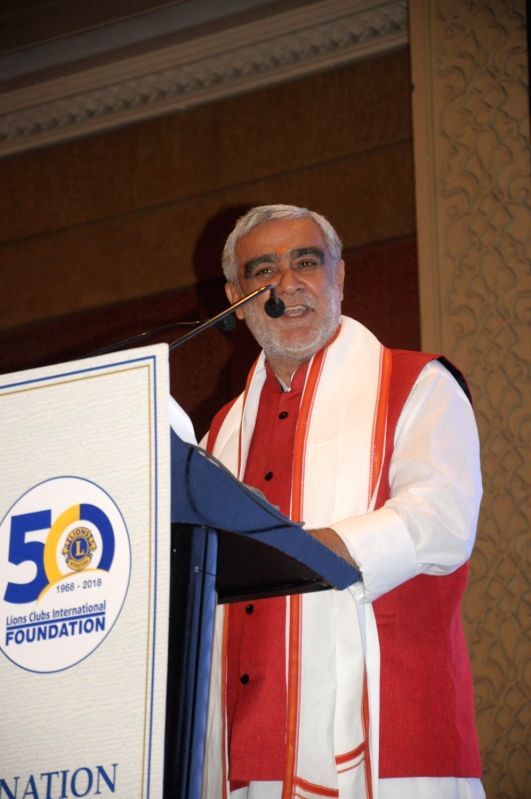 Union MoS Health and Family Welfare Ashwani Choubey addresses at the launch of Lions Clubs International - Apollo Healthcare Partnership Programme, in New Delhi, on July 30, 2018.
