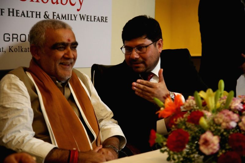 Union MoS Health and Family Welfare Ashwini Kumar Choubey and Paramesh Banerji Group Founder and Director Dr. Paramesh Banerji during a programme in Kolkata on June 9, 2018.