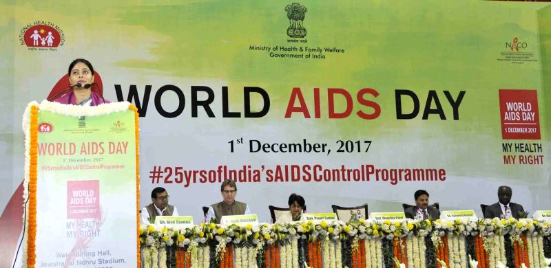 Union MoS Health Anupriya Patel addresses during a programme organised on World AIDS Day in New Delhi on Dec 1, 2017. - Anupriya Patel
