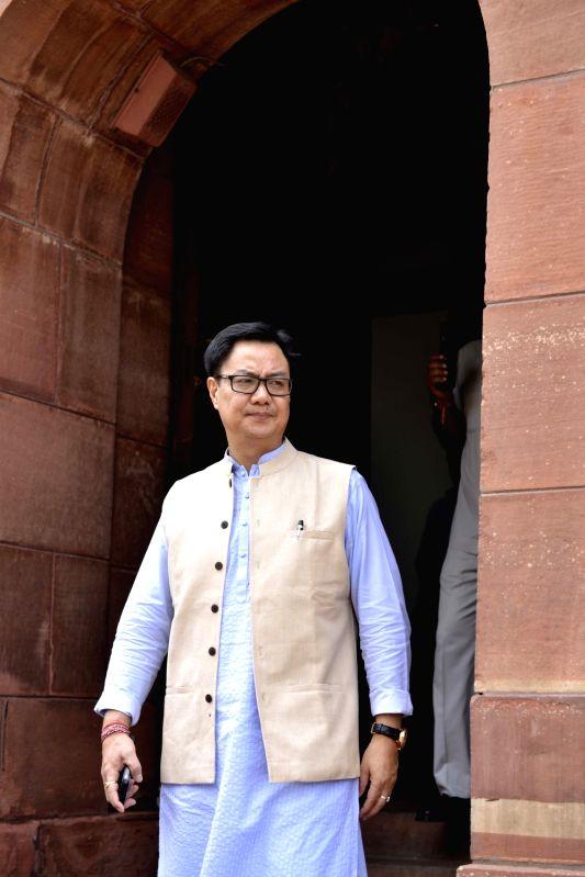 Union MoS Home Affairs Kiren Rijiju at Parliament on Aug 11, 2017.