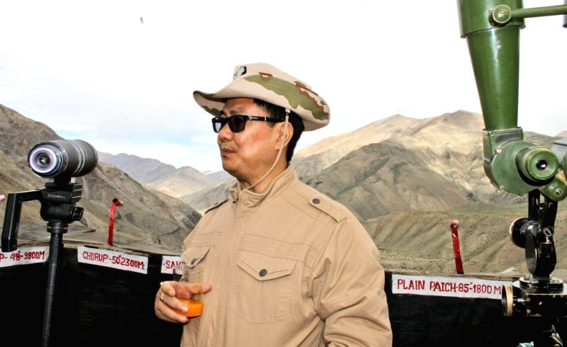 Union MoS Home Affairs Kiren Rijiju during his visit to Border Out Post of  the Indo-Tibetan Border Police (ITBP) at Kaurik in Himachal Pradesh on July 18, 2018.