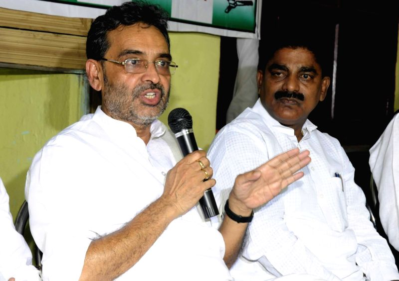 Union MoS HRD Upendra Kushwaha addresses a press conference in Patna on July 30, 2016.
