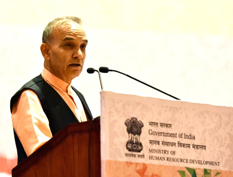 Union MoS Human Resource Development and Water Resources, River Development and Ganga Rejuvenation Satya Pal Singh addresses during the National Conference of Vice-Chancellors and ...