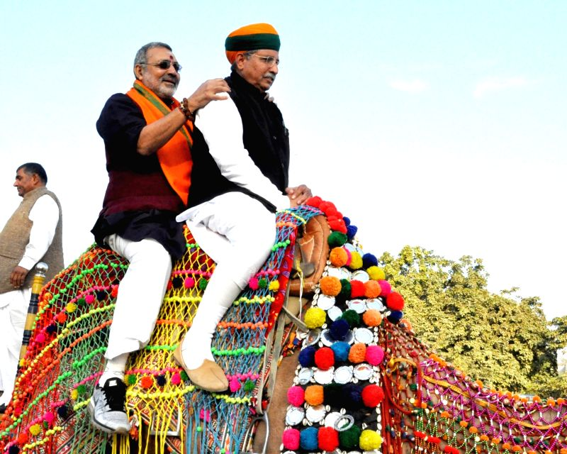 Union MoS Micro, Small and Medium Enterprises Giriraj Singh with Union MoS Parliamentary aAffairs and Water Resources, River Development and Ganga Rejuvenation Arjun Ram Meghwal take a camel ... - Enterprises Giriraj Singh
