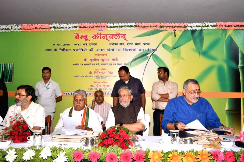 Union MoS Micro, Small and Medium Enterprises Giriraj Singh, Bihar Deputy Chief Minister Sushil Kumar Modi and the state's Agriculture Minister Prem Kumar during Bamboo Conclave, in Patna on ... - Sushil Kumar Modi, Enterprises Giriraj Singh and Prem Kumar