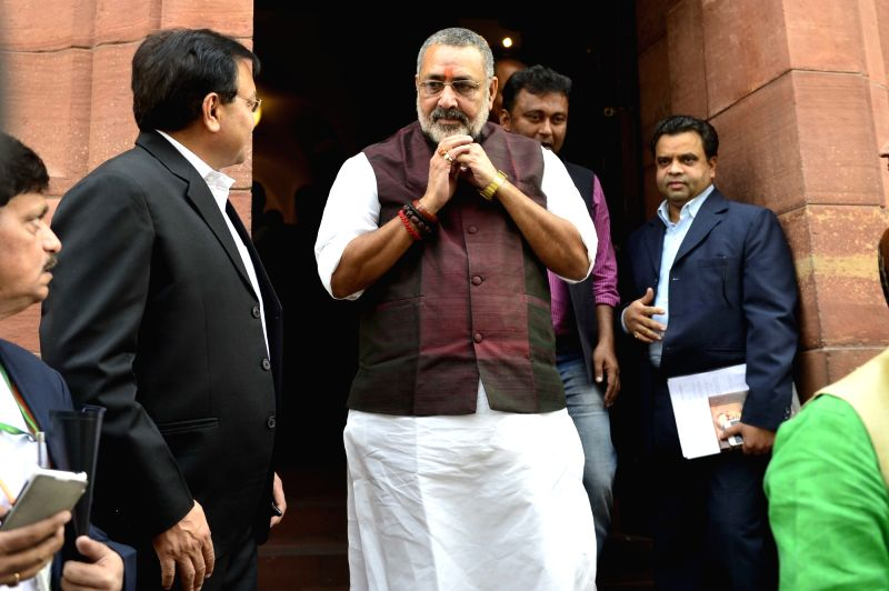 Union MoS MSME Giriraj Singh after the Day-1 of the winter session of the Parliament in New Delhi, on Nov 26, 2015. - Giriraj Singh
