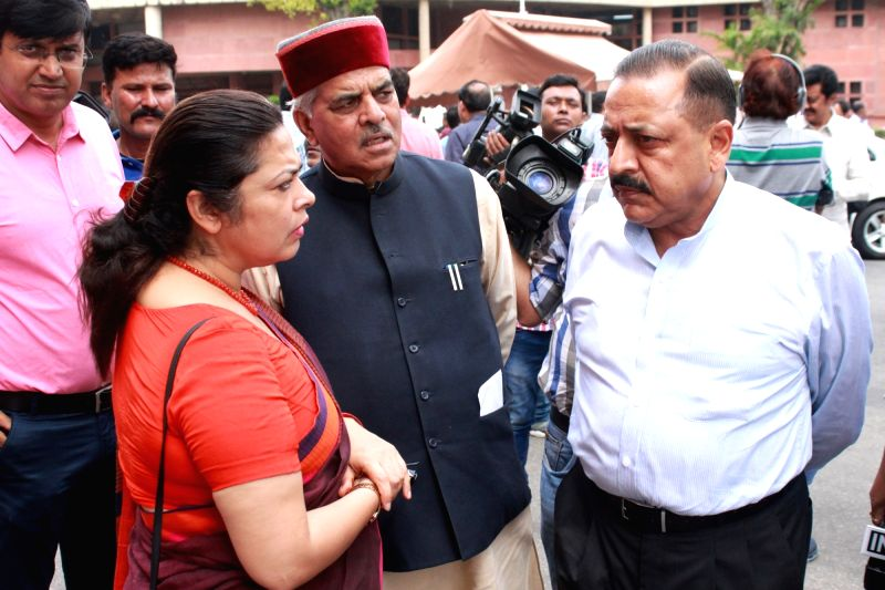 Union MoS PMO Jitendra Singh, BJP MP Meenakshi Lekhi and other party MPs after BJP parliamentary party meeting in New Delhi, on Aug 9, 2016. - Jitendra Singh