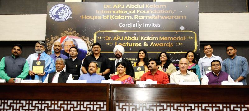 Union MoS Prime Minister's Office Jitendra Singh with the winners of Dr. APJ Abdul Kalam Memorial Awards, in New Delhi on July 16, 2018. - Jitendra Singh