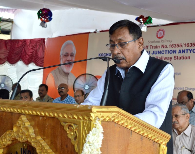Union MoS Railways Rajen Gohain addresses after flagging off the Kochuveli – Mangaluru Junction Antyodaya Express at Kochuveli railway station, in Thiruvananthapuram on June 9, ...