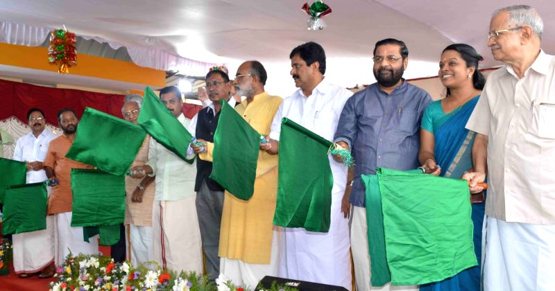 Union MoS Railways Rajen Gohain along with Union MoS Tourism  Alphons Kannanthanam, Kerala Minister Kadakampally Surendran and MP C.P Narayan, flags off the Kochuveli – ... - Kadakampally Surendran