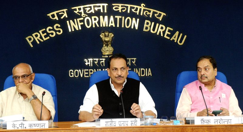 Union MoS Skill Development and Entrepreneurship Rajiv Pratap Rudy addresses a press conference on three Years Achievements and Initiatives of his ministry in New Delhi on June 6, 2017.