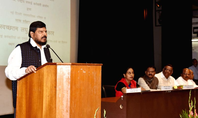 """Union MoS Social Justice and Empowerment Ramdas Athawale addresses at the inauguration of the """"Awareness-cum-Health Camp for Safai Karamcahris of New Delhi Municipal Council ..."""