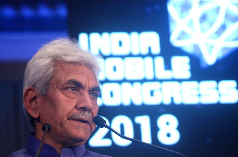 Union MoS Telecom Manoj Sinha addresses during a press conference regarding India Mobile Congress 2018 in New Delhi, on April 13, 2018. - Manoj Sinha