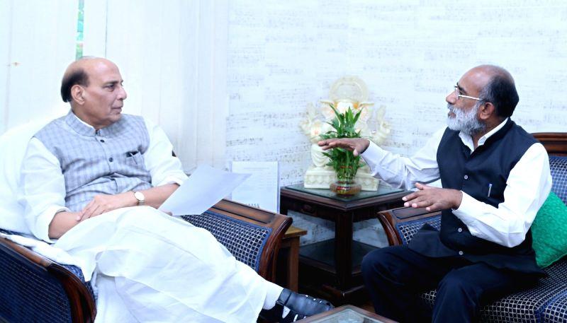 Union MoS Tourism Alphons Kannanthanam meets Union Home Minister Rajnath Singh, in New Delhi on July 18, 2018. - Rajnath Singh