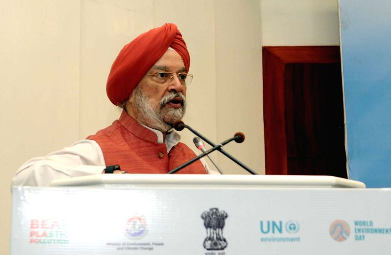 Union MoS Urban Affairs Hardeep Singh Puri addresses a session on 'The Knowledge Coalition-Intelligent Conversations' as a part of the World Environment Day celebrations, in New Delhi on ...