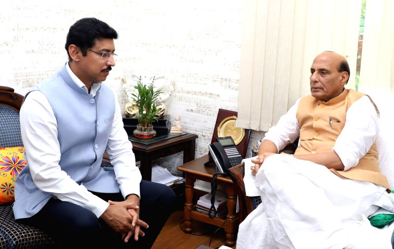 Union MoS Youth Affairs and Sports and Information and Broadcasting Rajyavardhan Singh Rathore calls on Union Home Minister Rajnath Singh, in New Delhi, on July 27, 2018. - Rajnath Singh and Rajyavardhan Singh Rathore