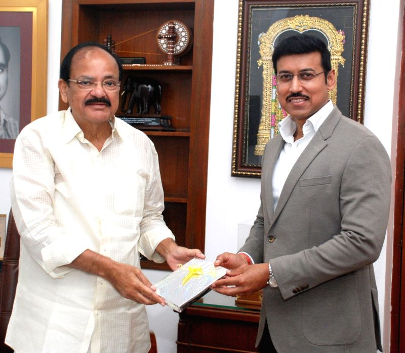 Union MoS Youth Affairs and Sports (I/C) and Information and Broadcasting Rajyavardhan Singh Rathore calls on Vice President M. Venkaiah Naidu in New Delhi on Sept 6, 2017. - M. Venkaiah Naidu and Rajyavardhan Singh Rathore