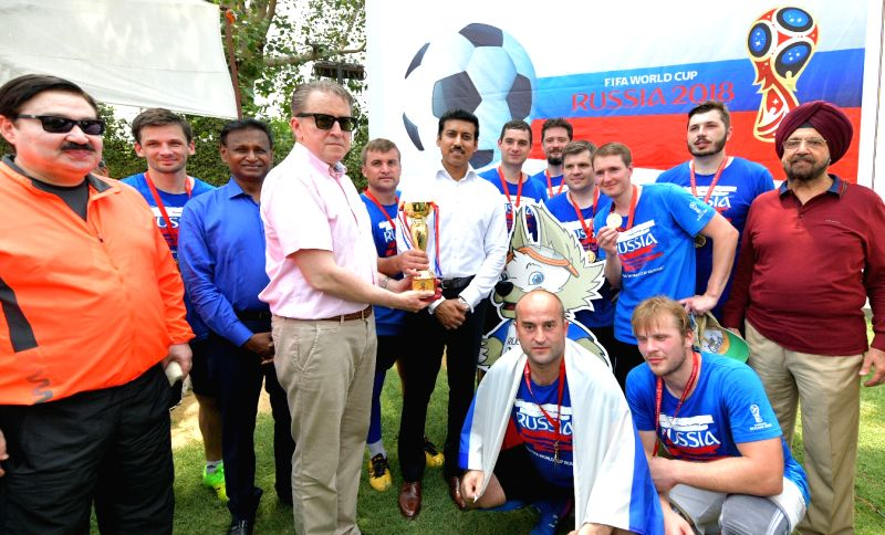 Union MoS Youth Affairs and Sports Rajyavardhan Singh Rathore and Russian Ambassador to India Nikolay Kudashev at a Football Tournament for Diplomatic Community ahead of the FIFA World Cup ... - Rajyavardhan Singh Rathore