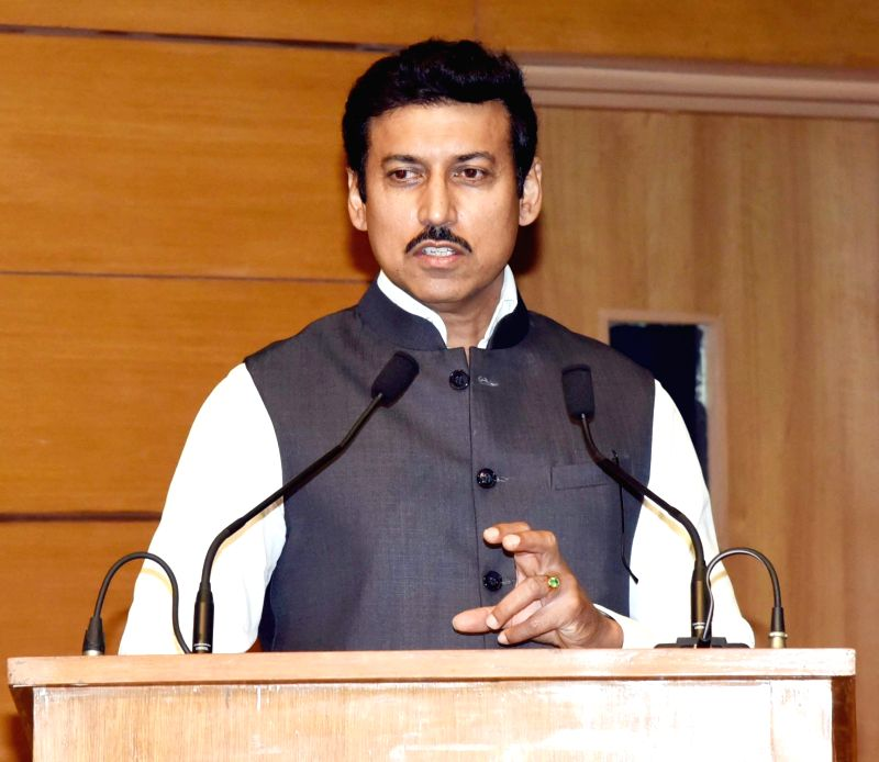 Union MoS Youth Affairs and Sports Rajyavardhan Singh Rathore addresses at the flag-off ceremony of an all-women expedition to Mt. Manirang (Himachal Pradesh), in New Delhi, on Aug 7, 2018. - Rajyavardhan Singh Rathore