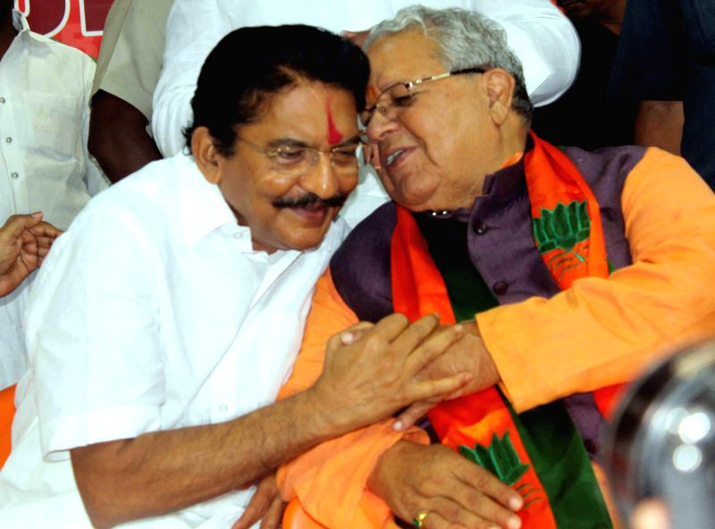 Union MSME Minister Kalraj Mishra and Maharashtra Governor designate Chennamaneni Vidyasagar Rao during a programme organised to felicitate the later for his new role in Hyderabad on Aug 26, 2014. - Kalraj Mishra